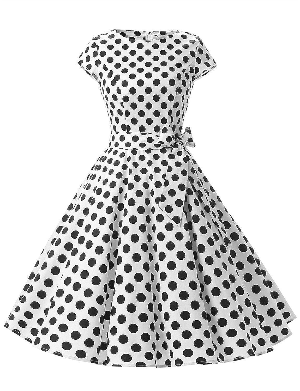 TALLA XXL. Dressystar Vestidos Coctel Corto Vintage 50s 60s Manga Corta Rockabilly Elegante Mujer White Black Dot B XXL