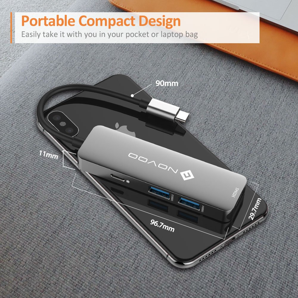 NOVOO USB C Hub Aluminium mit HDMI 4K Adapter, 2* USB 3.0 Anschlüssen, Ladeanschluss für 12\