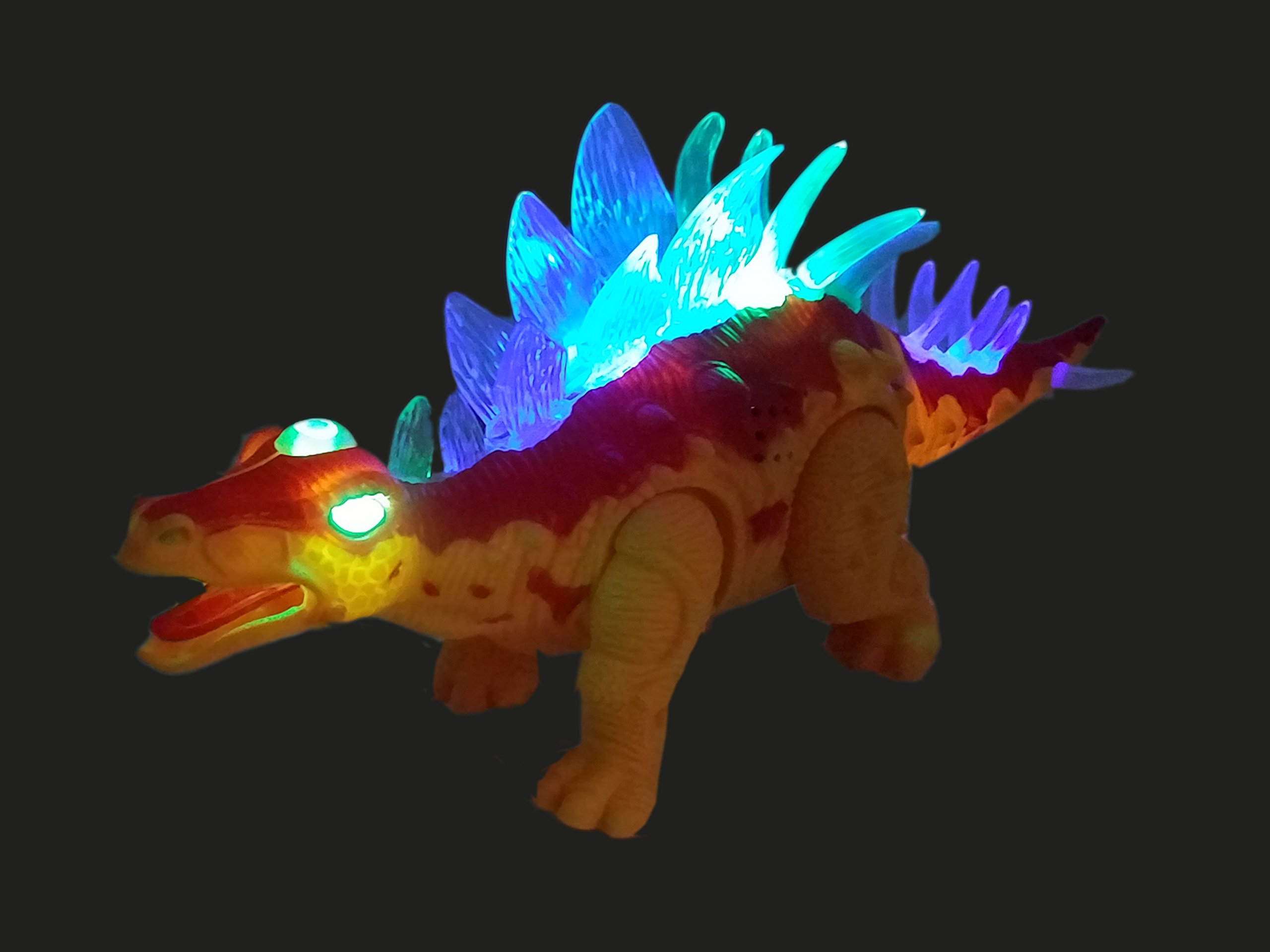 Battery Operated Jurassic Dinosaur Kids Toy ANJ International Walking Walking Dinosaur Toys for Boys Perfect Toy Gift for Kids Tail Wagging Roaring and Glowing Colors May Vary, Age 3+ Stegosaurus
