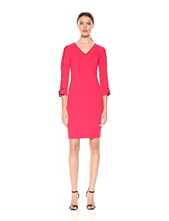 34b78b51f6d3c Calvin Klein Women s Solid V Neck Sheath with Contrast Piping Dress ...
