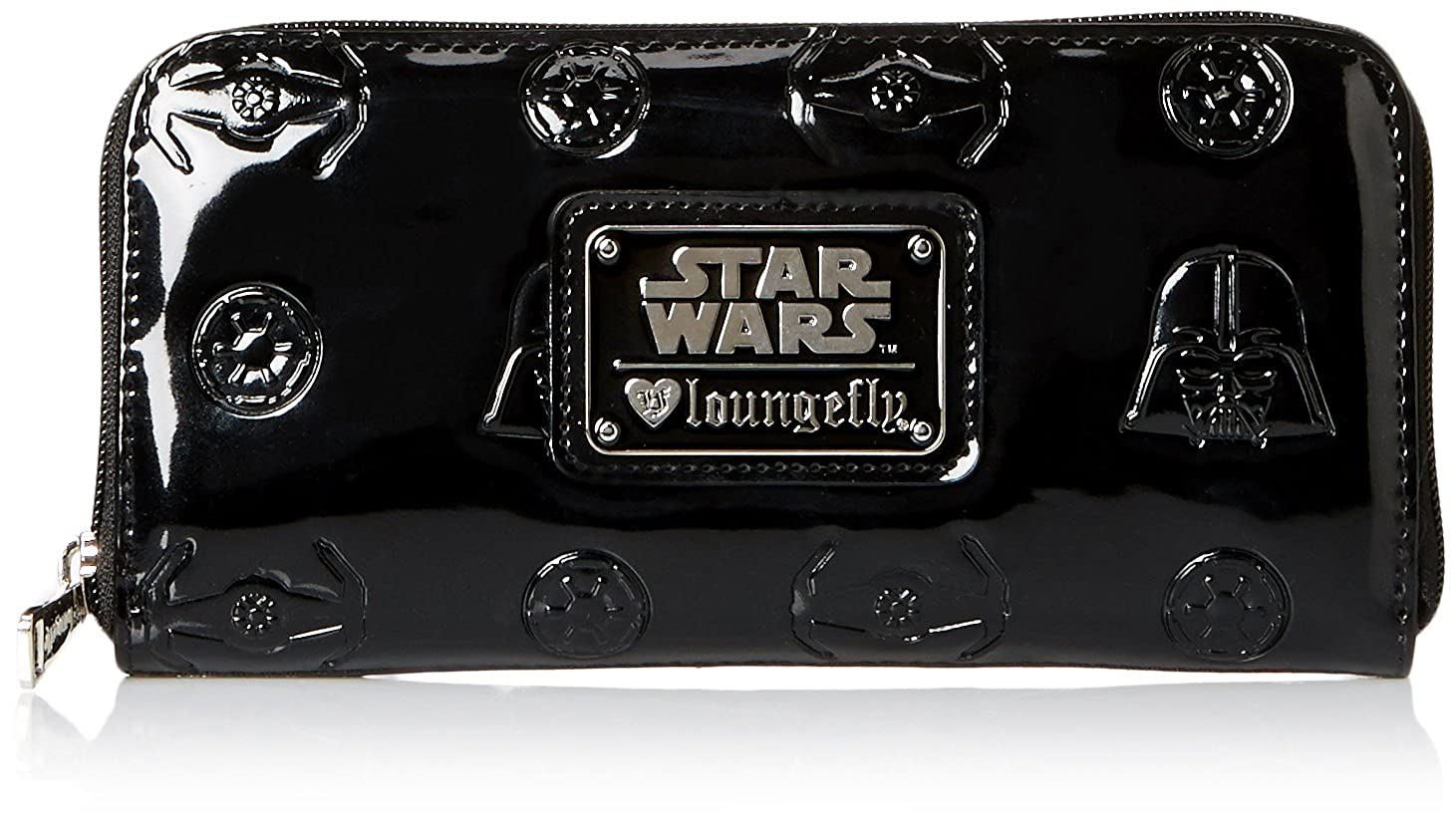 Loungefly Darth Vader Darkside Patent Zip Wallet Black One Size