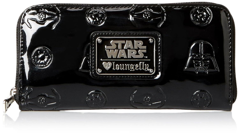 ラウンジフライスターウォーズダースヴェイダーブラックエンボス加工財布 Loungefly STAR WARS Darth Vader Darkside Black Patent Zip Wallet B00QL48ZDS