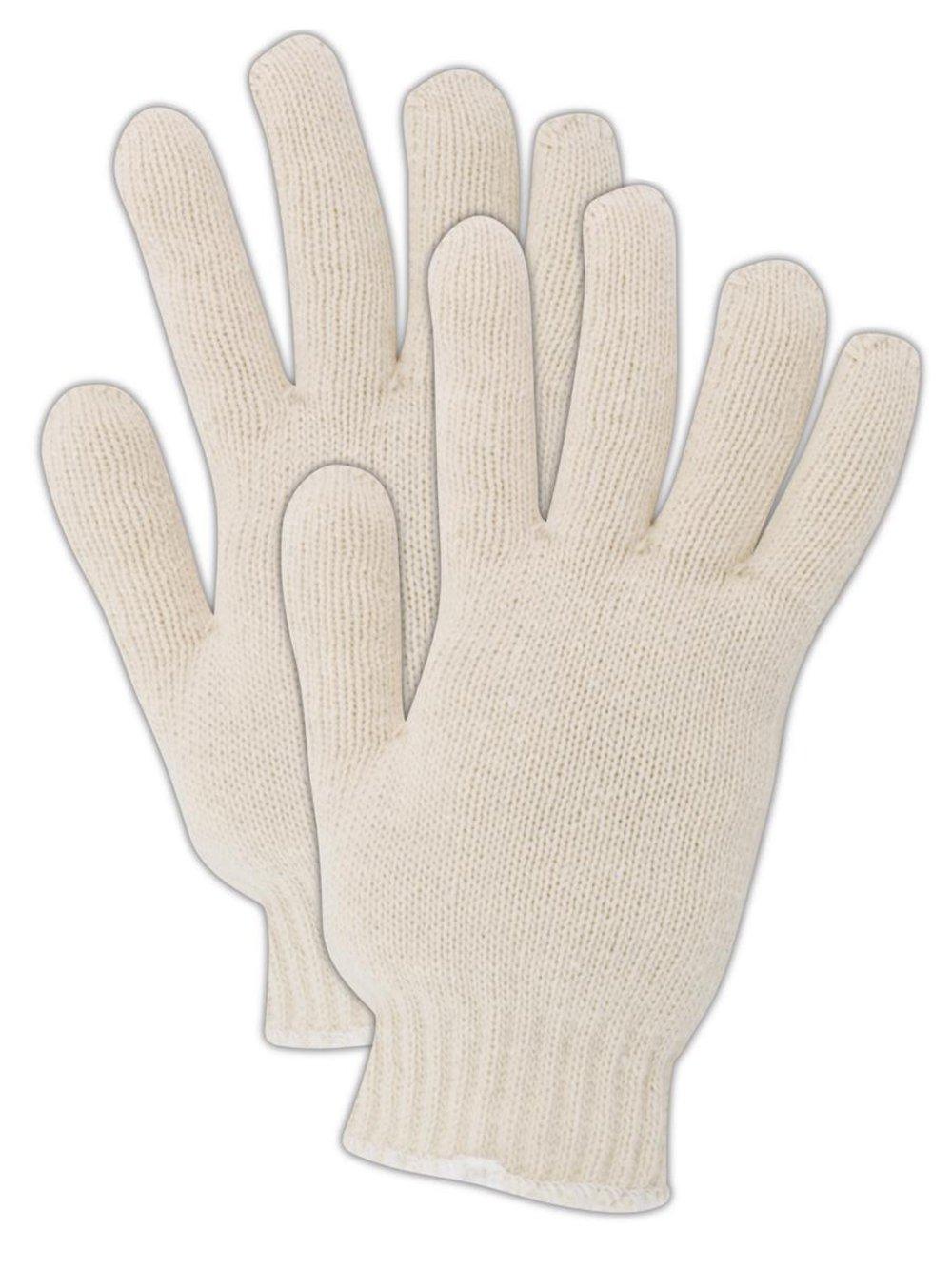 Magid KnitMaster T143 Cotton/Polyester Glove, Knit Wrist Cuff, 9.5'' Length, Men's  (One Dozen)