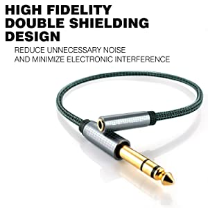 DuKabel TopSeries 6.35mm (1/4 inch) to 3.5mm (1/8 inch) Headphone Jack Adapter, 1/8 (Female) to 1/4 (Male) Extension Cable, 3.5 to 6.35 Audio Cable for Mixer Guitar Piano Amplifier Speaker and More (Tamaño: 1ft / 0.3m)