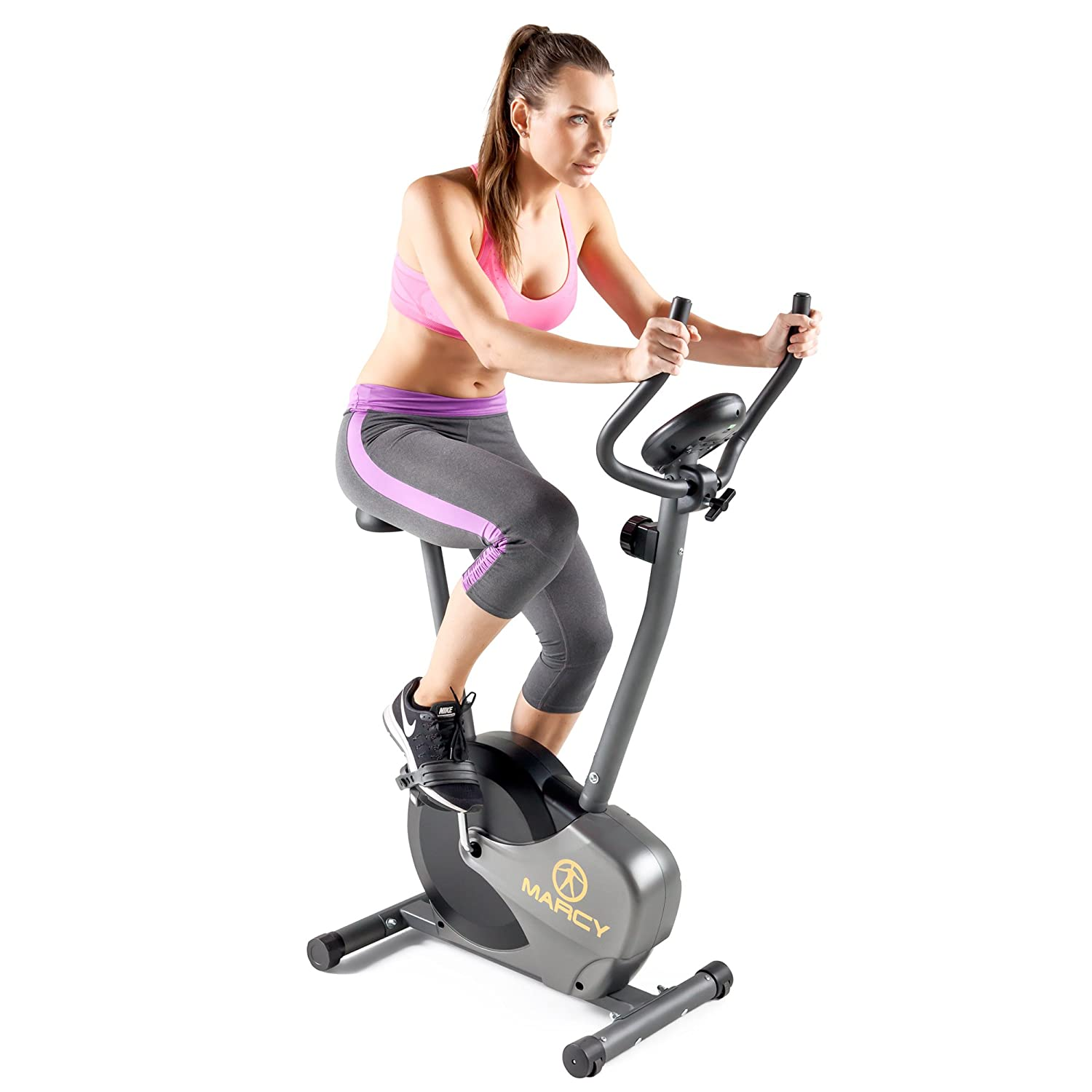 1f89a3087b6 Amazon.com   Marcy Magnetic Resistance Upright Exercise Bike with Eight  Preset Resistance Levels for Cardio Workout and Strength Training NS-714U    Football ...