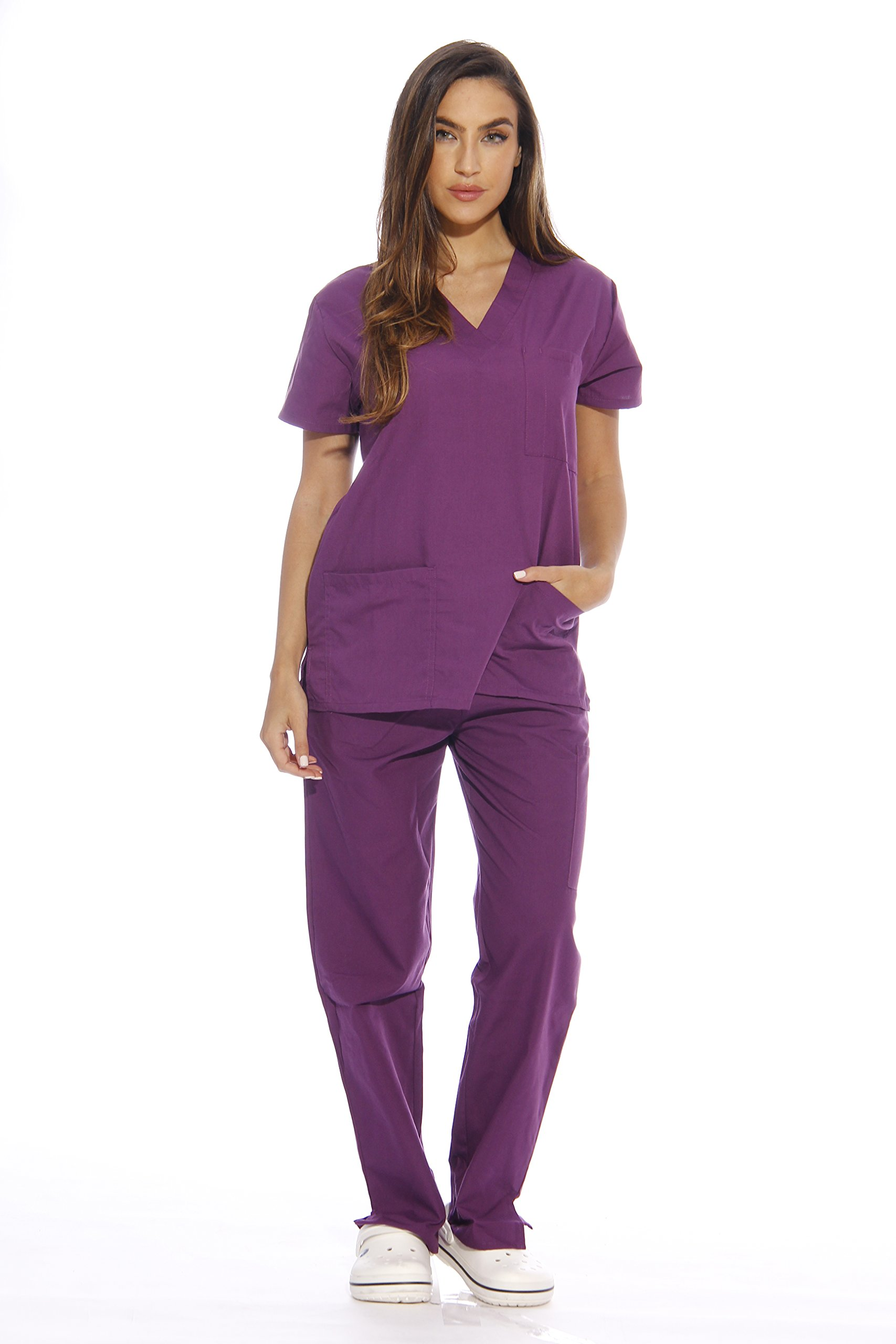 Just Love Women's Scrub Sets Six Pocket Medical Scrubs (V-Neck With Cargo Pant), Eggplant, Small