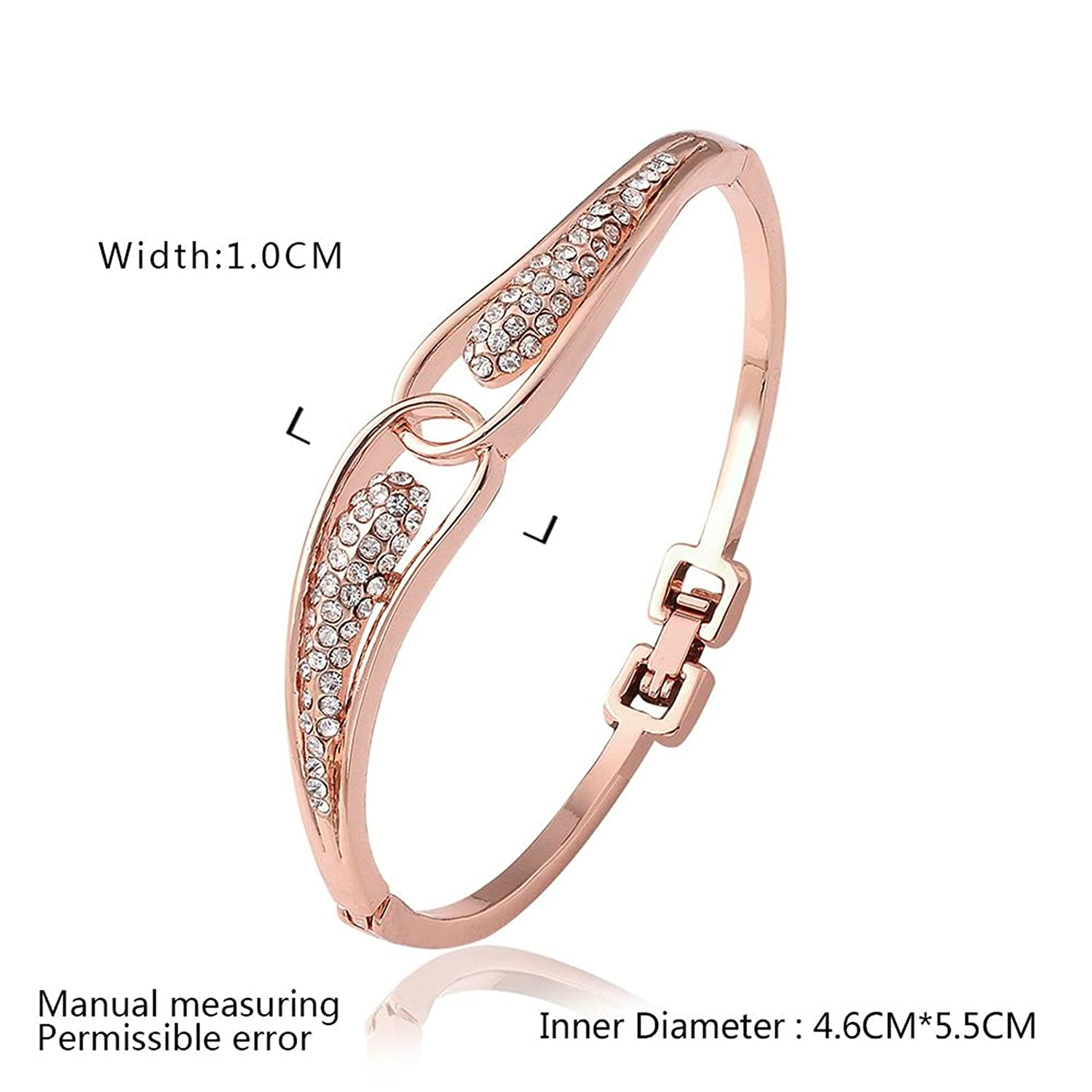 Gnzoe Fashion Jewelry Gold Plated Womens Charm Bracelet Bangle Cubic Zirconia Hollow Design Leaf Shape Rose Gold