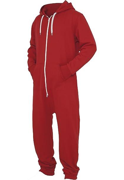 Urban Classics Hombre – Pijama Sweat Jumpsuit rojo/blanco