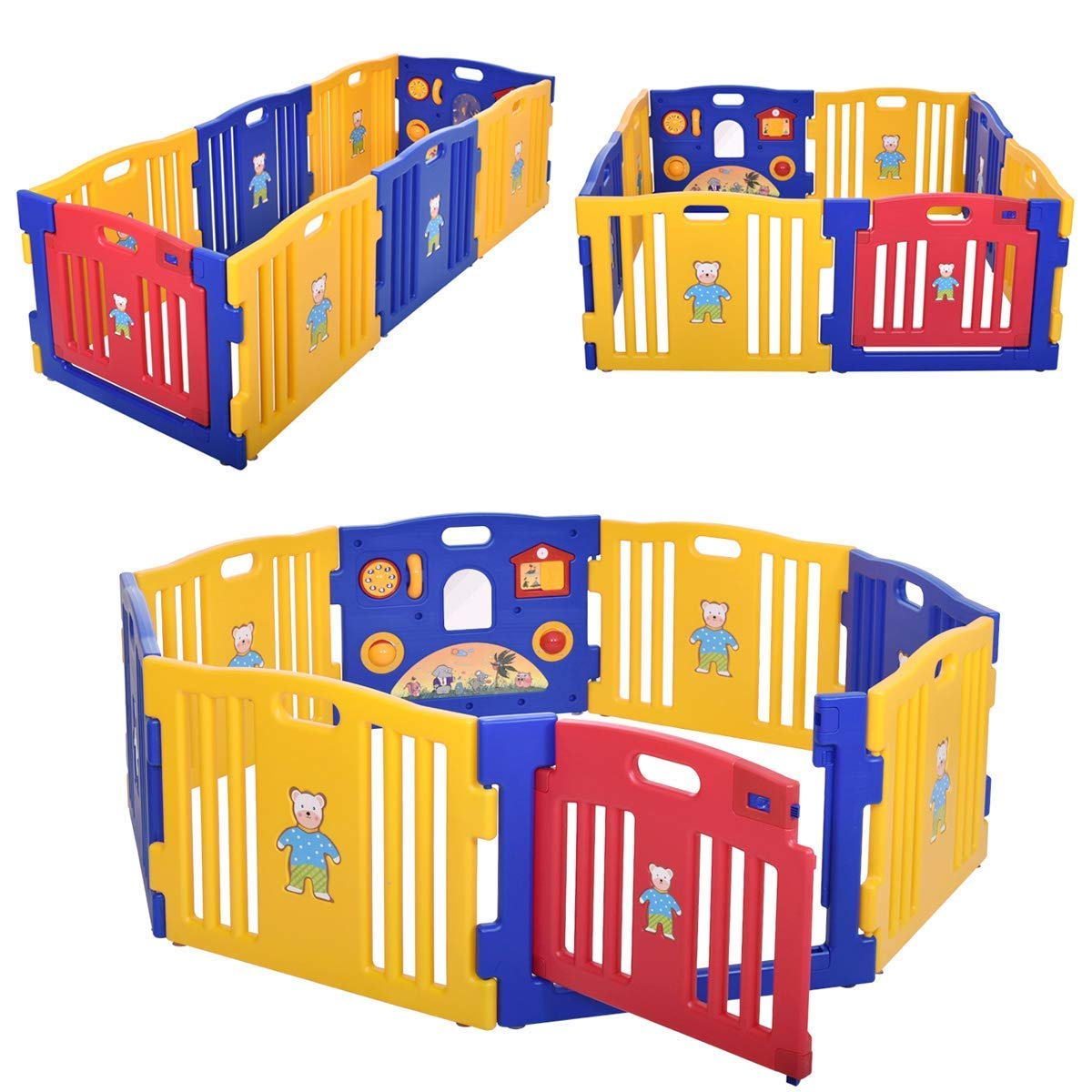 JAXPETY Baby Playpen Kids 8 Panel Safety Play Center Yard Home Indoor Outdoor New Pen Blue and Yellow