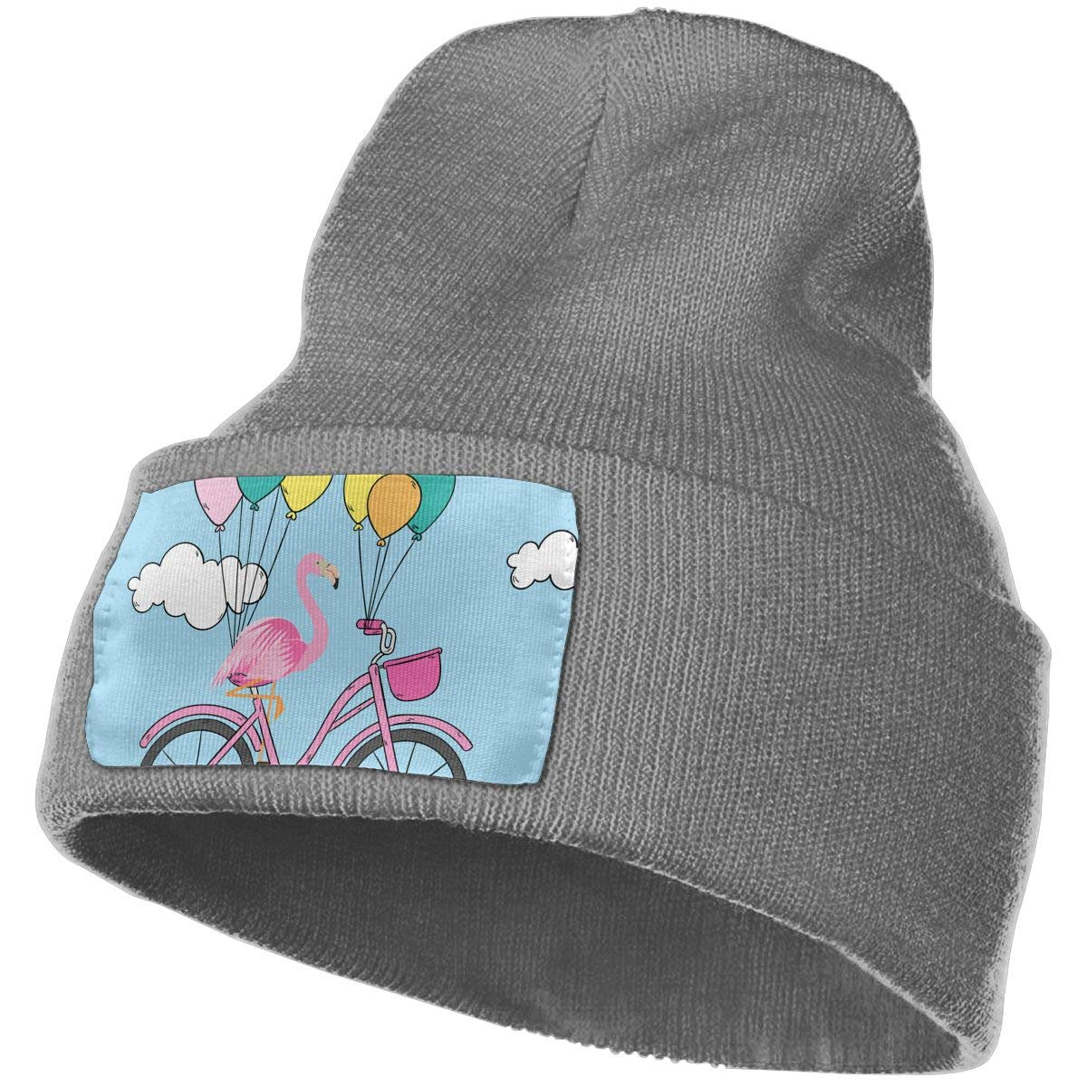 Flamingo On A Bicycle Hat for Men and Women Winter Warm Hats Knit Slouchy Thick Skull Cap Black