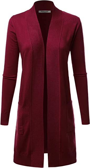 FASHIONOLIC Women's Solid Soft Stretch Long Line Long Sleeve Open Front Cardigan