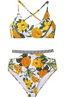423960df96 Amazon.com: CUPSHE Women's Leopard Print V Neck High Waisted Bikini ...