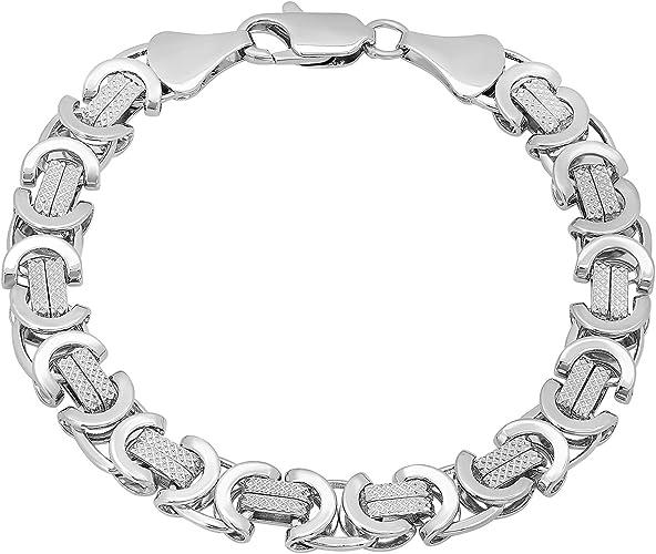 Womens 925 Sterling Silver High Polished Alternating Rope 9mm Link Bracelet