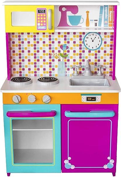 Kids House Cocina De Madera Big And Bright Cocina De Juguete Para Niñas Mx Juegos Y Juguetes
