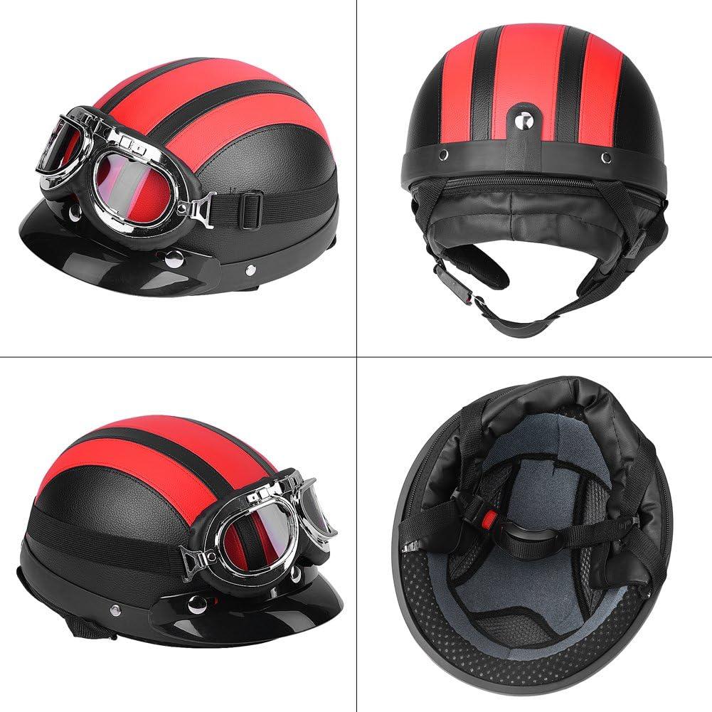 Medio casco abierto de piel scooter universal para moto medio casco abierto sint/ético y gafas UV default turquesa