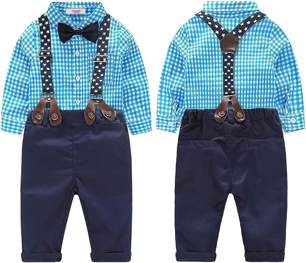 Nwada Completini e Coordinati Abbigliamento Bimbo Tuta Bambino Vestito Neonato Maschio Camicia e Pantaloni e Cravatta