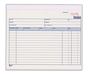 Elegant Adams Invoice Book, 2 Part, Carbonless, 8.38 X 7.19 Inches, 50 Sets To Book Invoice