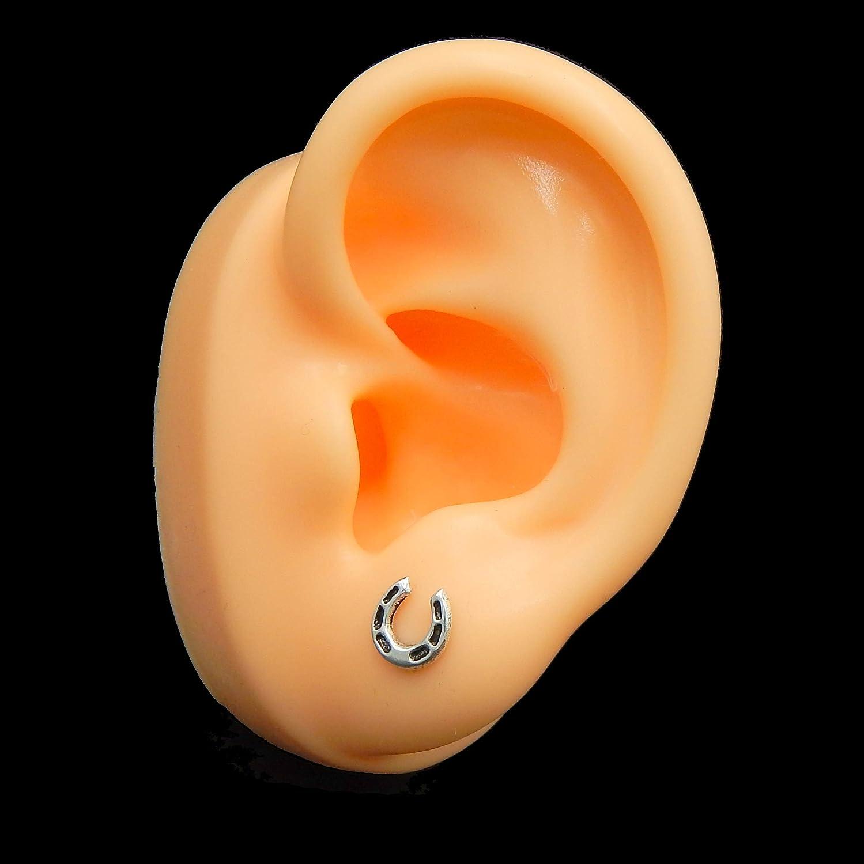 925 Sterling Silver Ladies Girls HORSESHOE Stud Earrings Gift Boxed