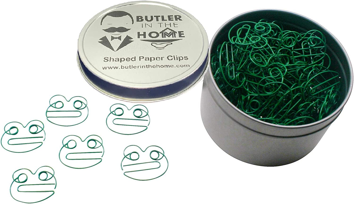 Butler in the Home 100 Count Frog Shaped Paper Clips Great for Paper Clip Collectors or Office Gift - Comes in Round Tin with Lid and Gift Box (Green)
