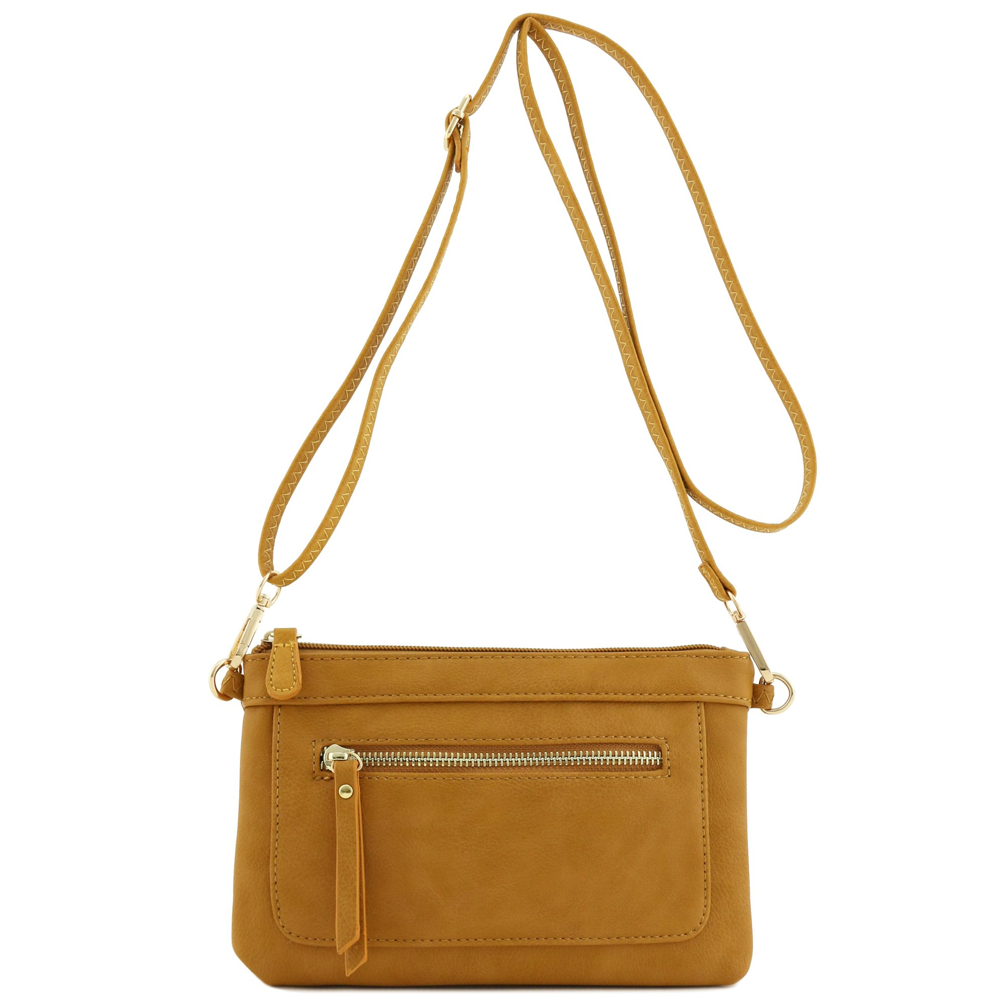 Multi-functional Wristlet Clutch and Crossbody Bag (Mustard) by FashionPuzzle