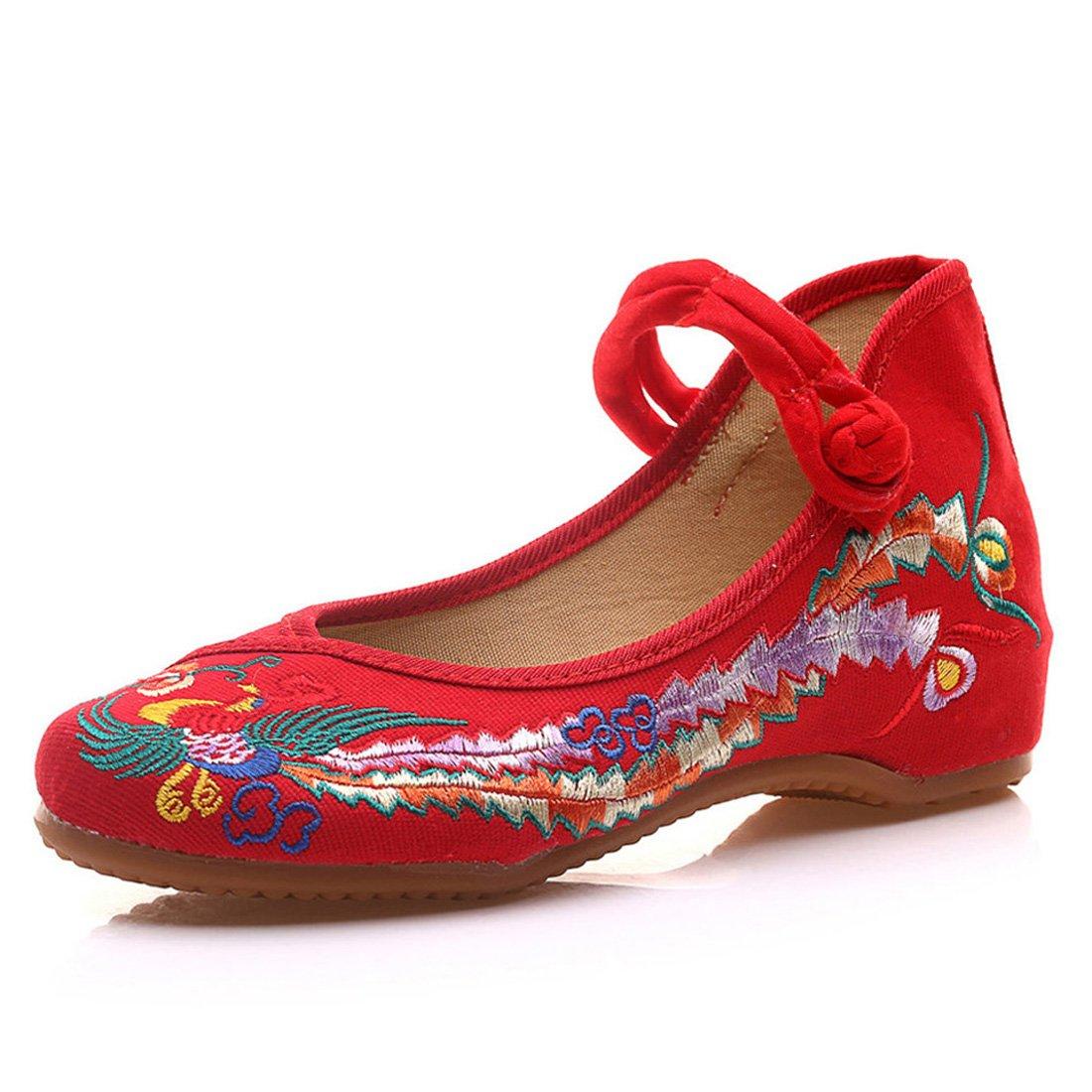 Fanwer Mary Jane Toile Phoenix Brodé Femmes Doux Semelle Chaussures Chinoises Appartements Flats