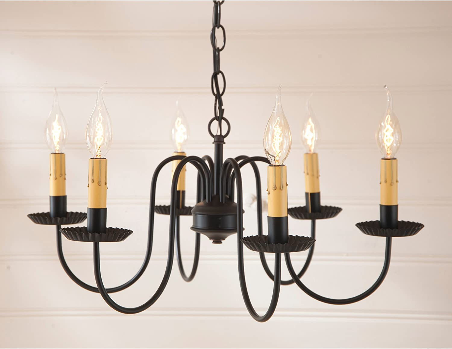Irvin s Country Tinware 9132BL – Sheraton 6 Light Chandelier with Satin Black Finish