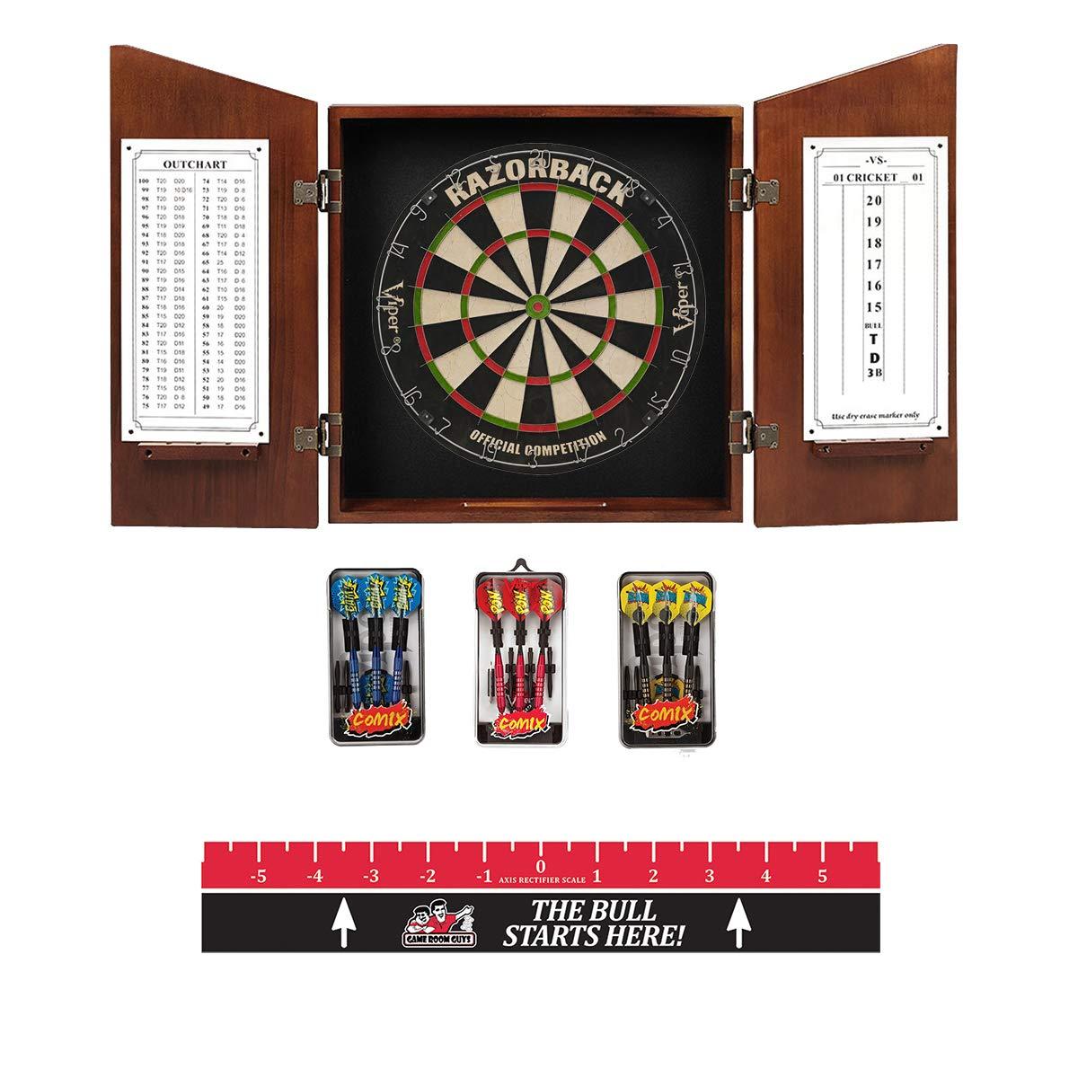 Game Room Guys Angular Chestnut Steel Tip Dart Board Cabinet Package