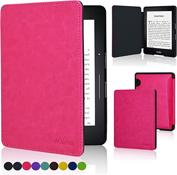 2014 The Thinnest and Lightest Premium PU Leather Cover Case for Kindle Voyage with Auto Wake Sleep Feature Sky Blue ACdream Kindle Voyage Case