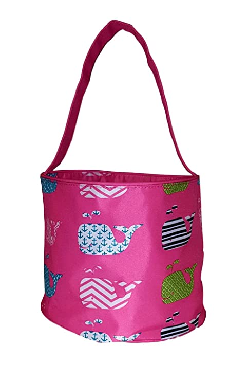 Personalized Fabric Bucket Tote Bag for Children - Toys - Easter Basket  (Pink Whale Print - Embroidered Name)