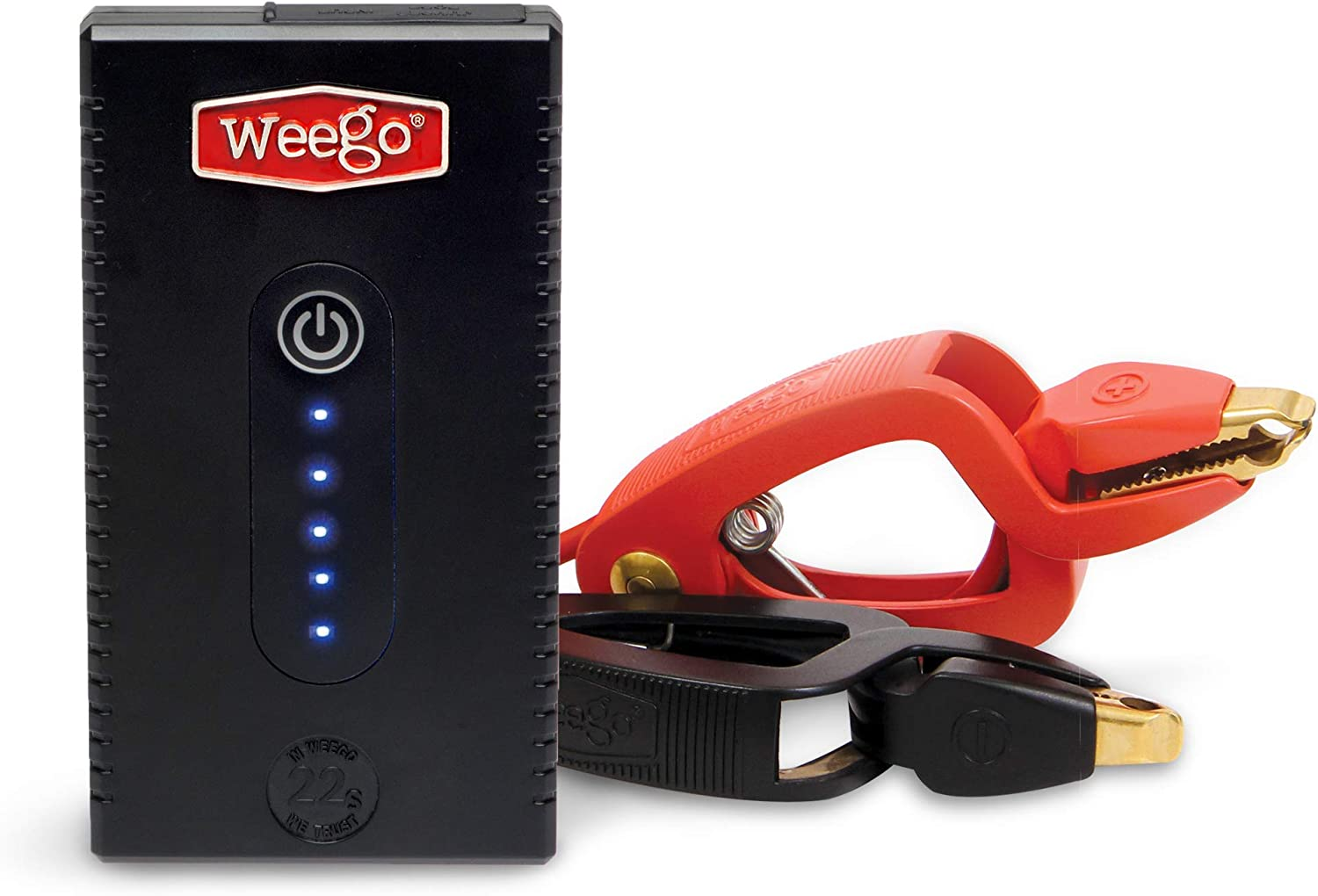 Weego 22s Jump Starter 1700 Peak 300 Cranking Amps Simple and Safe Lithium IonWater Resistant USA Designed and Engineered