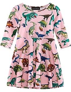 818be994ff8e Fancyqube Kids Girls Cute Dinosaur Printed A-line Party Dress Mini Shirt  Dresses