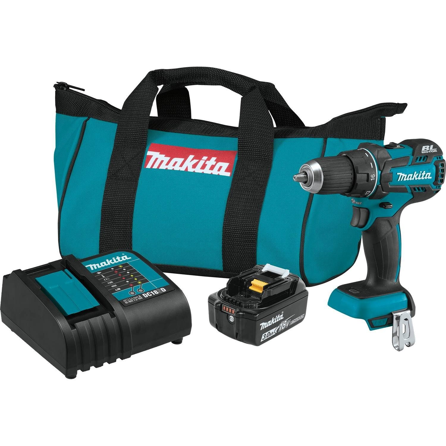 Makita XFD061 18V LXT Lithium-Ion COMPACT Brushless Cordless 1/2'' Driver-Drill Kit (3.0Ah)
