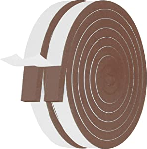 Adhesive Foam Seal Tape-2 Rolls, 1 Inch Wide X 1/4 Inch Thick Total 13 Feet Long, Closed Cell Foam Window Seal High Density Wide Insulating Foam Strip Brown (6.5ft x 2 Rolls)