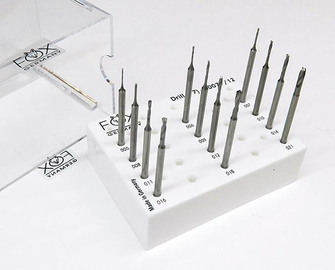 """Jewelry Twist Drills Steel Bur 3//35/"""" Shank Fox Fig77 005 to 023mm 6PCS"""