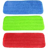 Bestartstore 3Pcs 3colors Washable Reusable Microfiber Mop Cleaning Pads for Spray Mops and Reveal Mops 16.5 x 5.7 Inch