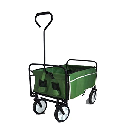 Heavy Duty Folding Garden Portable Hand Cart Green Suit for Shopping and Park Picnic Collapsible Outdoor Utility Wagon Beach Trip and Camping with 8 Rubber Wheels and Drink Holder