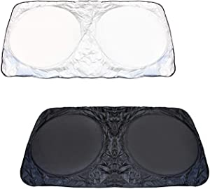 iJDMTOY 2-Set Medium 60 x 27.5 Car Windshield Sunshade, Foldable, Block UV Ray Deflector Sun Shade Protection