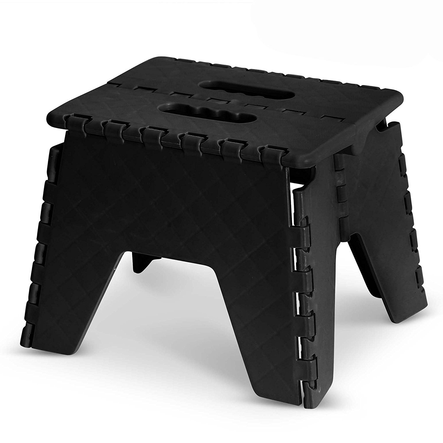 GLOW Heavy Duty Folding Step Stool – Black Strong 9 Inch Plastic Anti Slip Stepping Stool for Kids and Adults - Ideal for Use around the Home, Kitchen and Workplace - Compact and Lightweight Ladder Folds Flat with Carry Handle for Easy Storage and Transpo