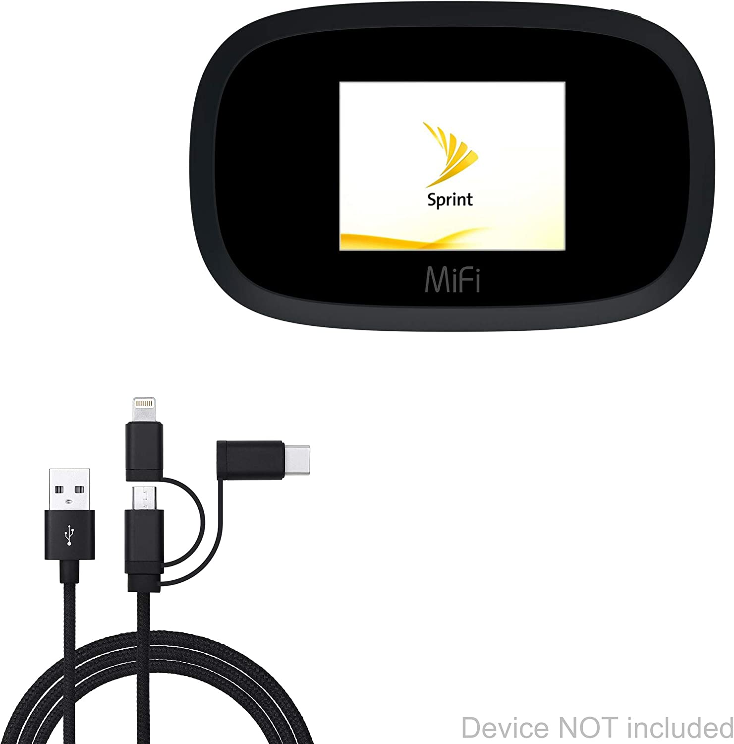 AllCharge 3-in-1 Cable Jet Black Sprint MiFi 8000 Cable for Sprint MiFi 8000 BoxWave