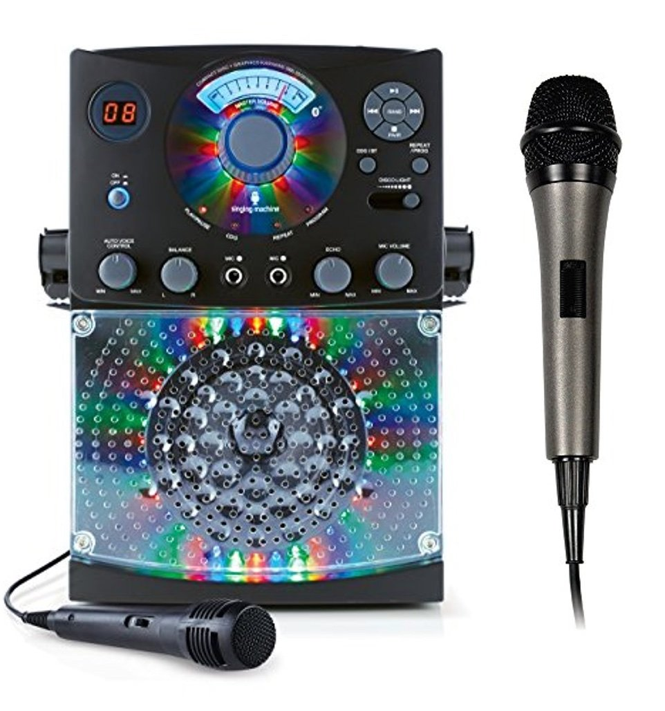 Bundle Includes 2 Items - Singing Machine SML385BTBK Top Loading CDG Karaoke System with Bluetooth, Sound and Disco Light Show (Black) and Singing Machine SMM-205 Unidirectional Dynamic Microphone by Singing Machine and Singing Machine (Image #1)