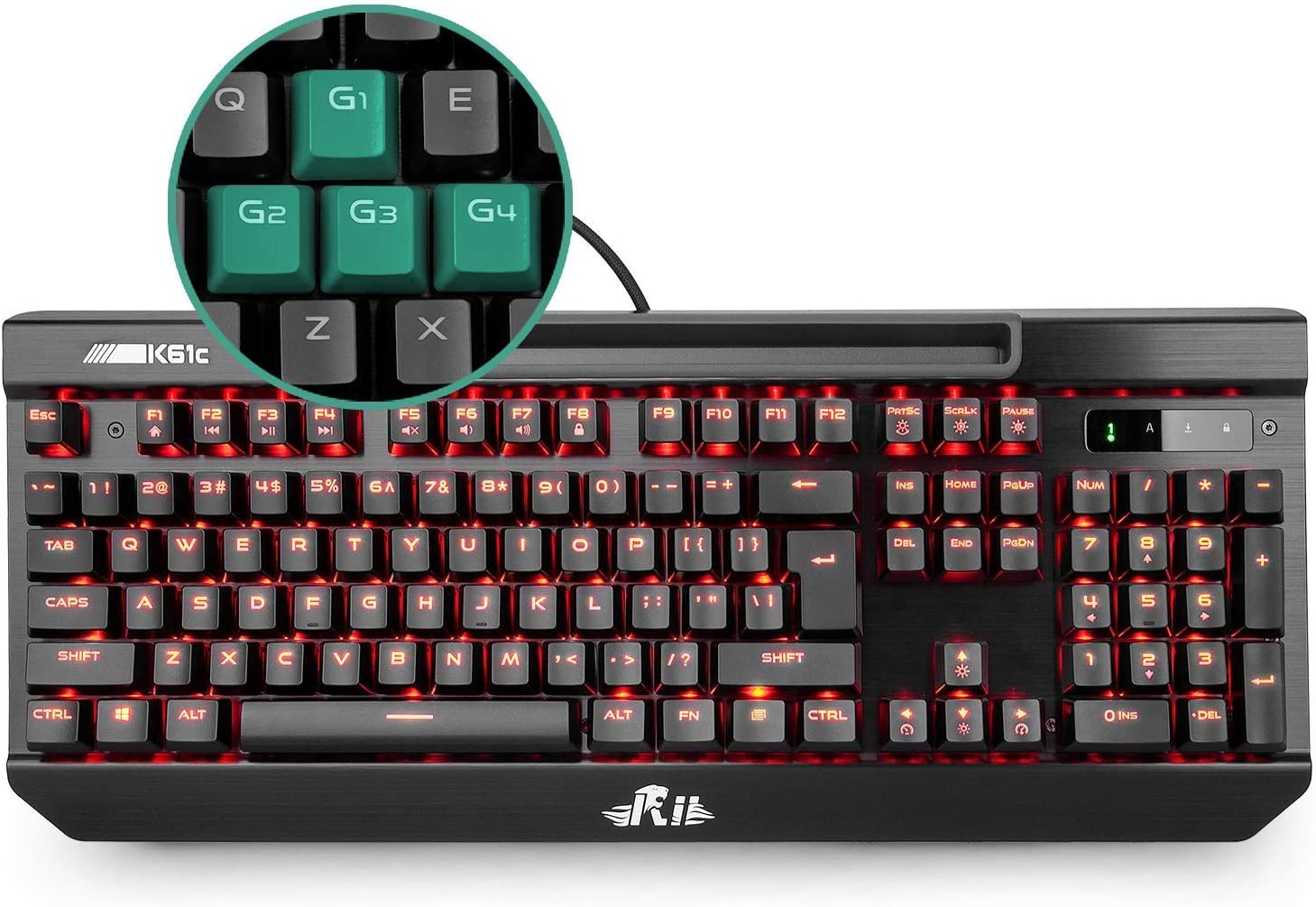 Home Green Backlit Metal Gaming Keyboard Wired Mechanical Desktop Computer Laptop USB Interface Home Typing Business GSUMMER Gaming Keyboard