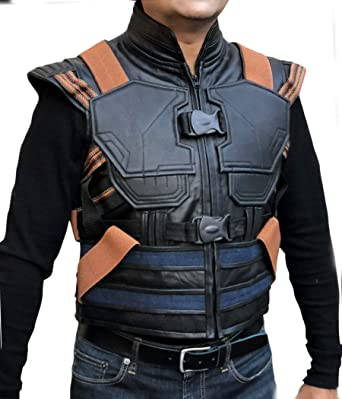 20a9d1333161 F H Men s Synthetic Leather Avengers Black Panther Erik Killmonger Michael B.  Jordan Vest ...