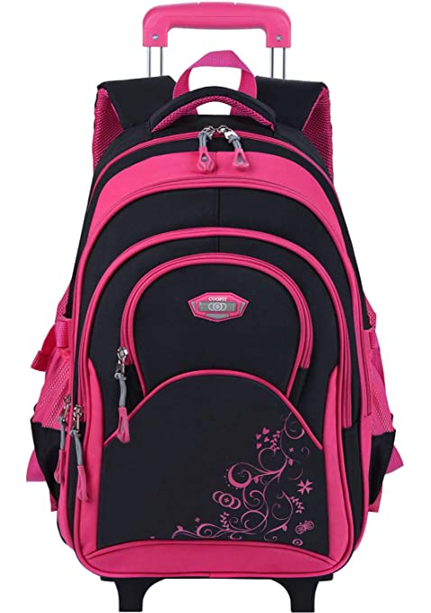 0d3a0ae4fbc9 Kids Rolling Backpack,Coofit School Roller Backpack with Wheels Rucksack  Backpack for Girls Boys