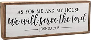 White Wooden Bible Verse Sign-As for Me and My House We Will Serve The Lord-Wall Decorations for Living Room, Modern Farmhouse Decor, Rustic Home