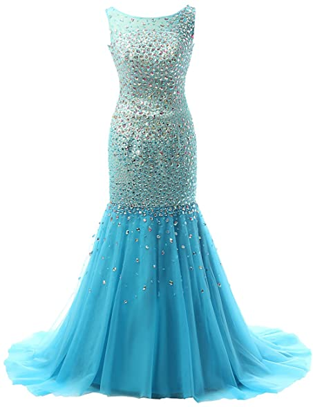 JAEDEN Crystal Evening Dresses Sexy Long Backless Prom Dress Gown Blue US2
