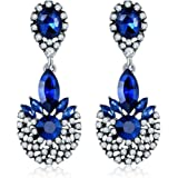 Jewels Galaxy Crystal Elements Sparkling Floral Design Limited Edition Flawless Pair Of Drop Earrings For Girls/Women