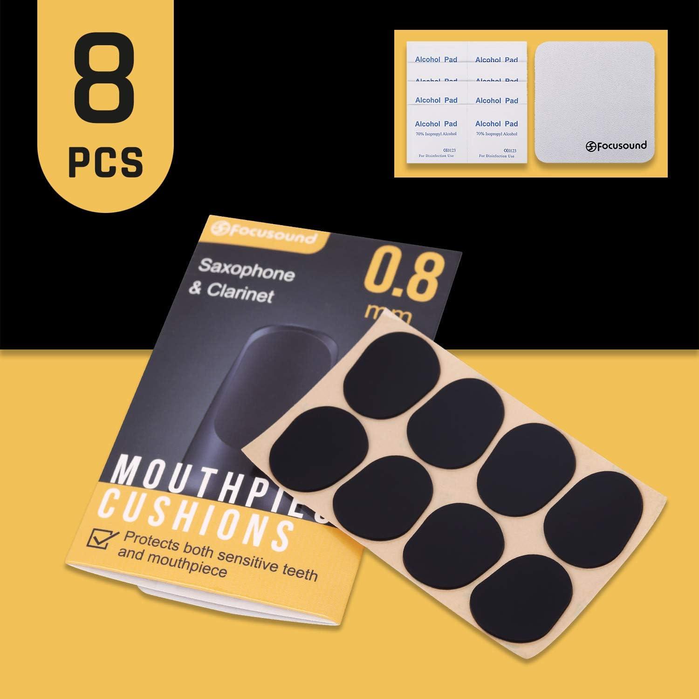 Focusound Lot de 8 patchs pour bec de saxophone et clarinette /Épaisseur 0,8 mm Noir