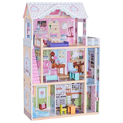 b0c5b528ce1f Amazon.com: Costzon Dollhouse with Furniture, 3 Levels Doll Cottage House  Rooms, Pink (46