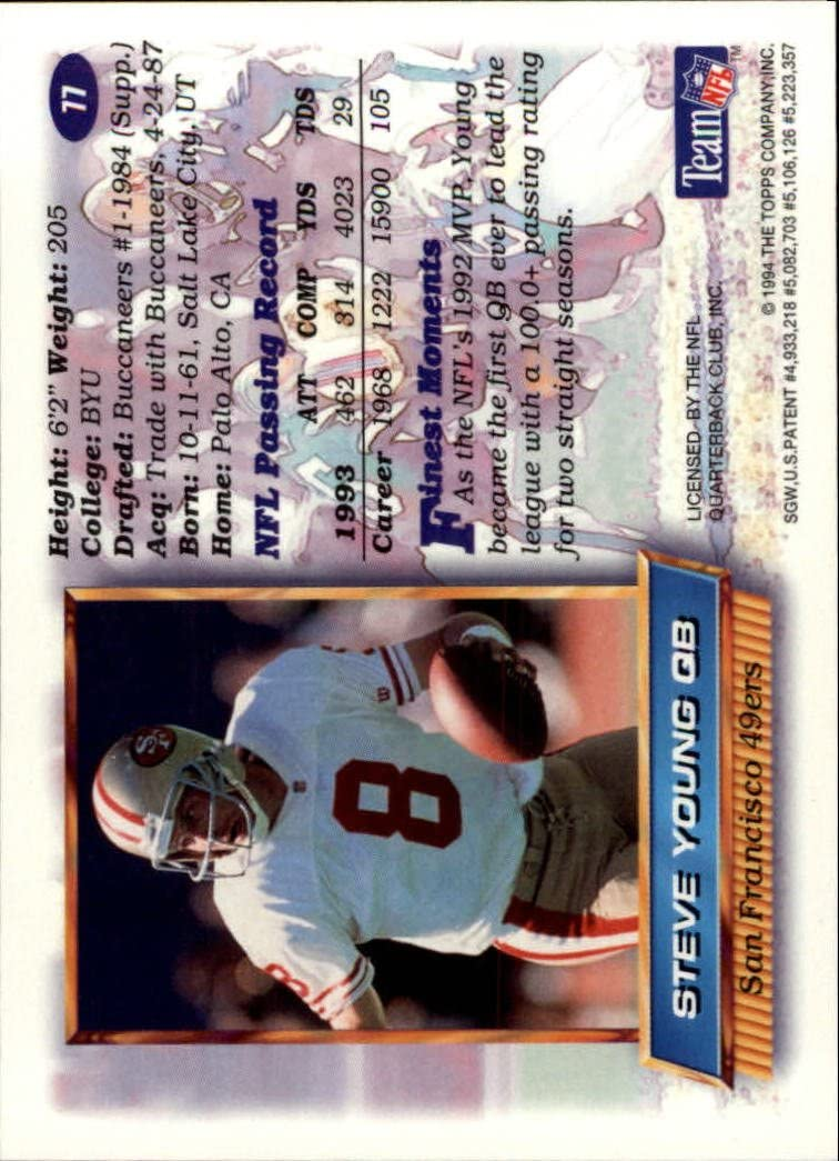 1994 Topps Finest Football Card #77 Steve Young
