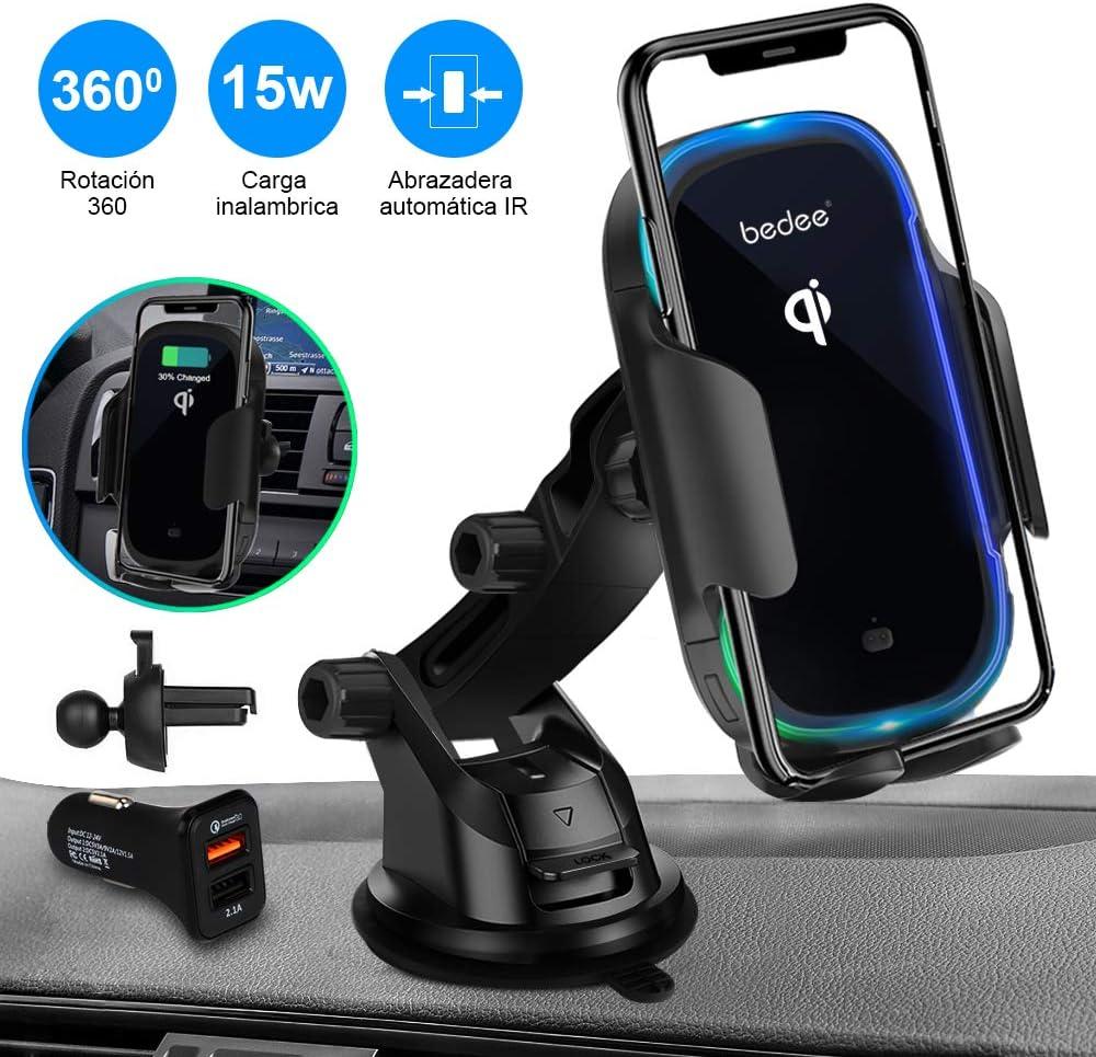 Cargador Inalámbrico Coche Carga Rápida Automático,bedee 15W Qi Cargador Wireless Car Charger Auto Clamping Movíl Soporte Adaptador QC 3.0 para Tamaño del Teléfono 4.0-6.5 Pulgadas
